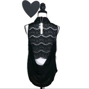 Esley Black Sleeveless Top Cut Out Lace Back L